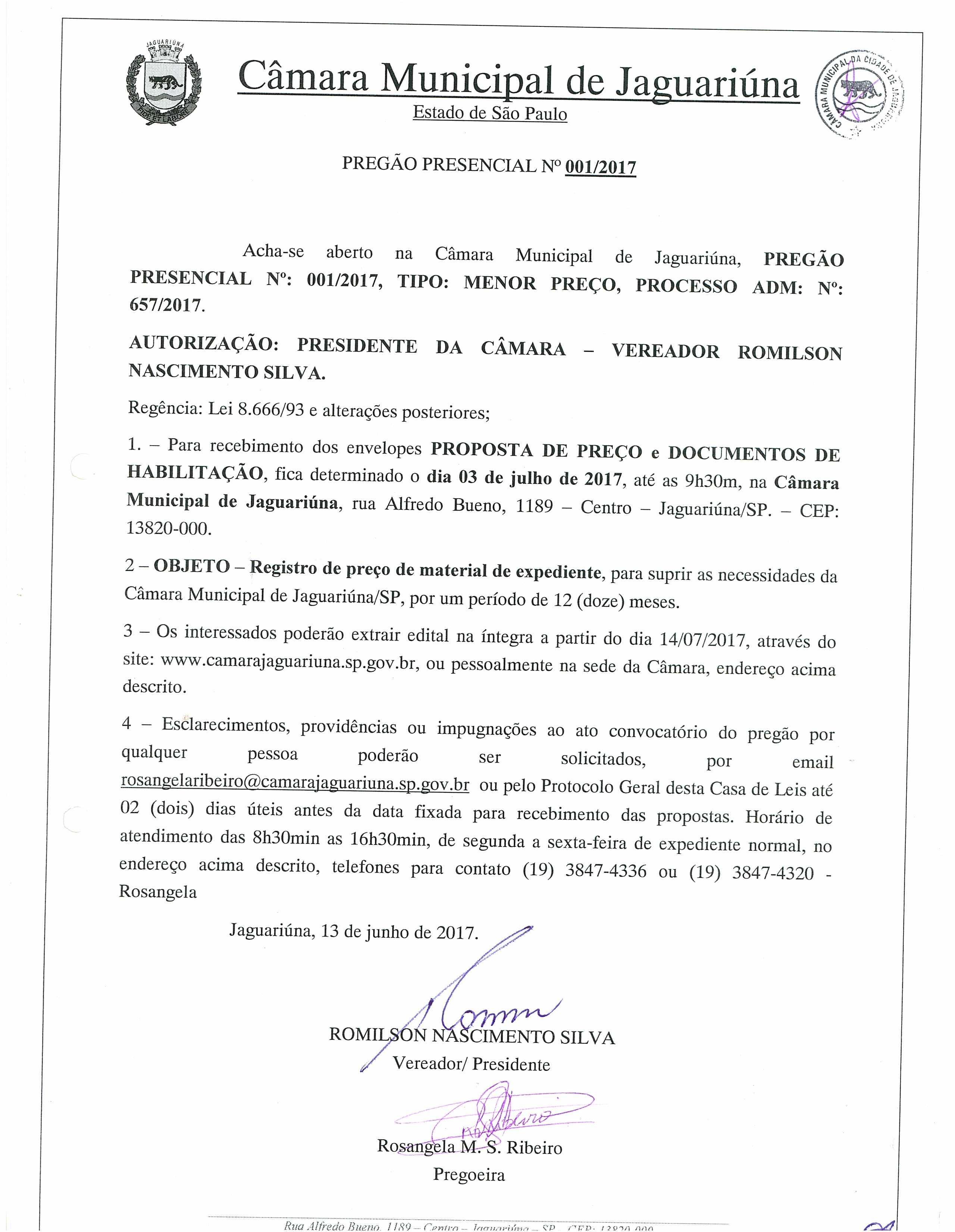 Pregão Presencial 001/2017 - Registro de preço de material de expediente