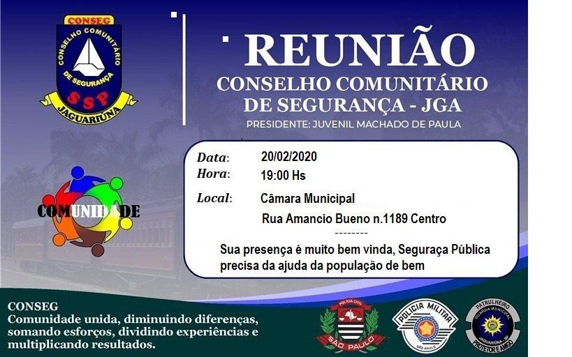 Reunião Ordinária do Conseg Jaguariúna acontece nesta quinta-feira (20), na Câmara